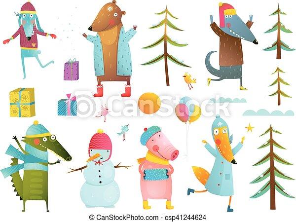 Bambini arte inverno clip stagione collezione - Animali in inverno clipart ...