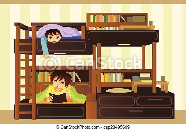 Bambini, camera letto. Bambini, illustrazione, loro, vettore, camera ...