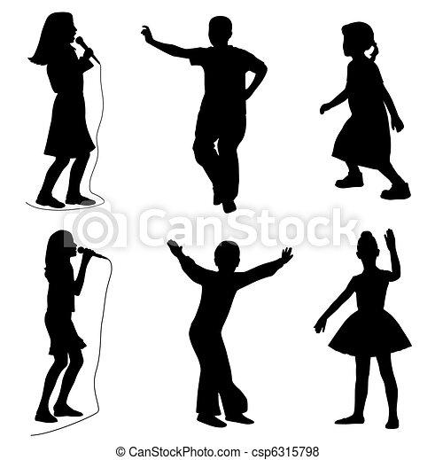 bambini, canto, ballo - csp6315798