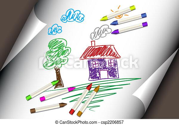 bambini, casa, o, bambino, casa, disegno - csp2206857