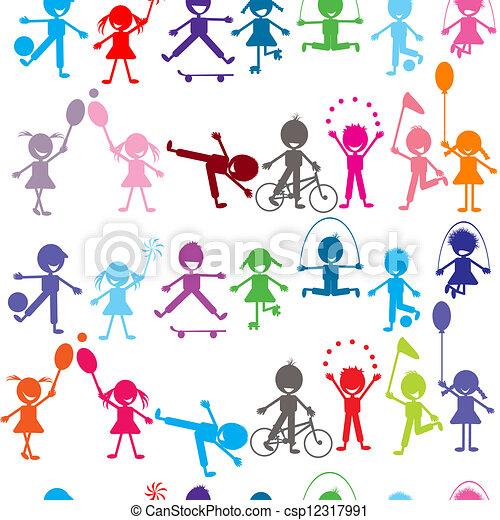 Bambini Colorato Seamless Stilizzato Fondo Gioco