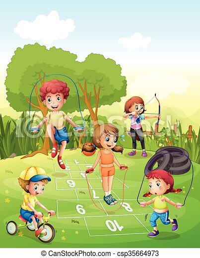Bambini esercitarsi giardino bambini giardino for Disegno giardini