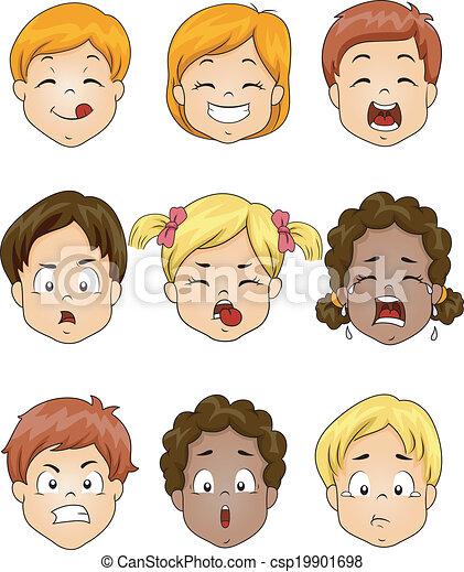 bambini, espressione, facciale - csp19901698