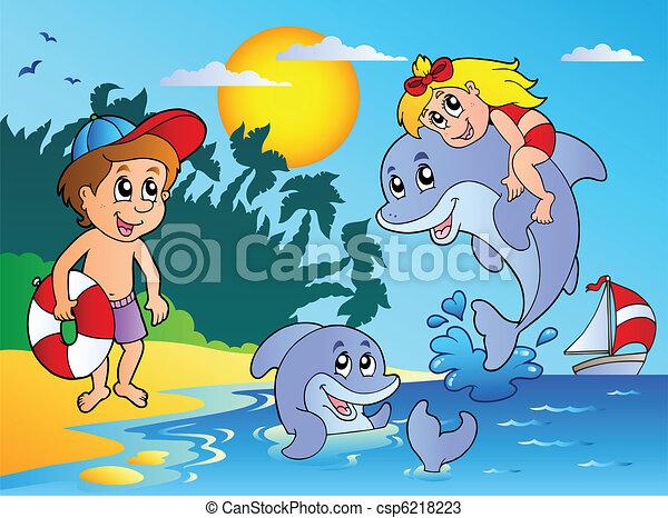 bambini estate, spiaggia, delfini - csp6218223