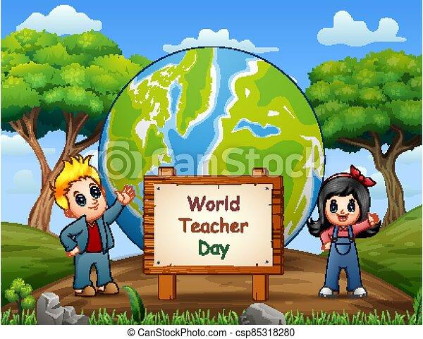 bambini, felice, standing, giorno, insegnante - csp85318280