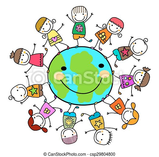 bambini, intorno, terra pianeta, gioco, felice - csp29804800