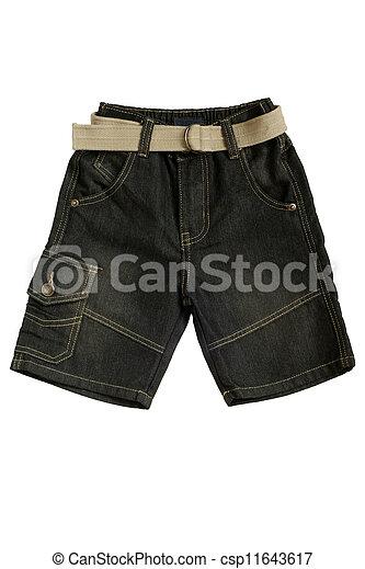 bambini, jean, -, indossare, calzoncini - csp11643617