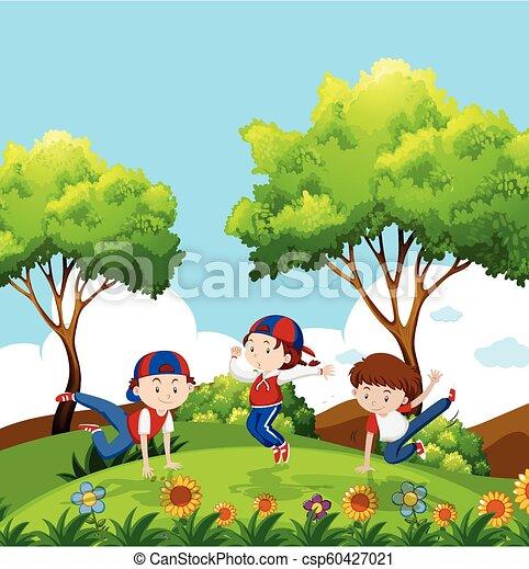 bambini, parco, ballo - csp60427021