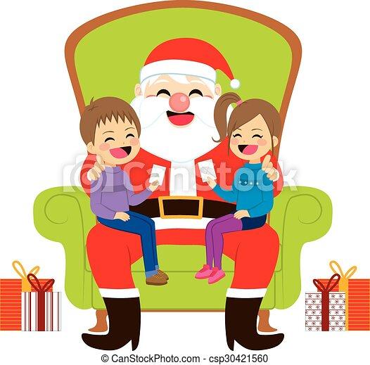 bambini, santa, seduta - csp30421560