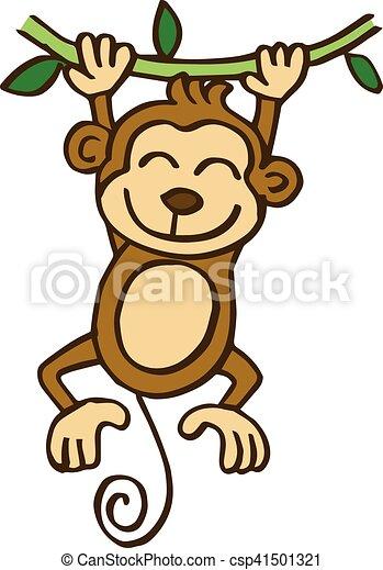 Bambini Scimmia Oscillazione Cartone Animato Bambini Scimmia