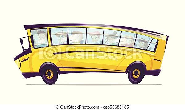 Bambini scuola autobus giallo vettore camion cartone animato
