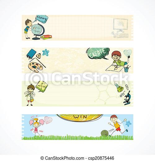 bambini scuola, educazione, bandiere - csp20875446