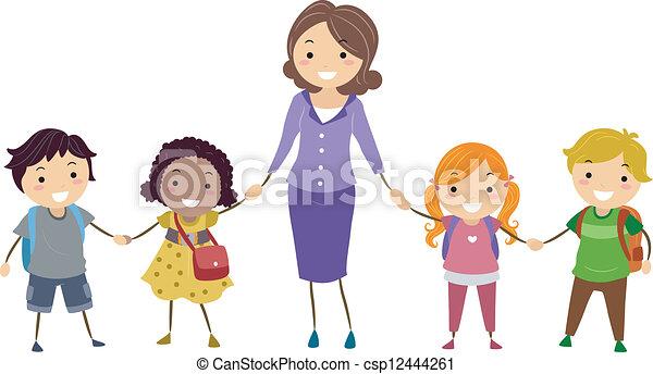 bambini scuola, insegnante - csp12444261