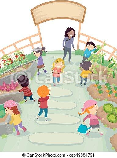 bambini scuola, stickman, giardino, illustrazione - csp49884731