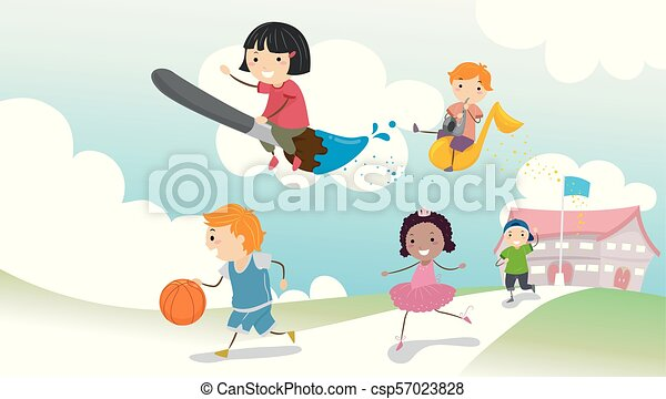 bambini scuola, stickman, illustrazione, attività - csp57023828