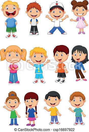 bambini, set, collezione, cartone animato - csp16697922