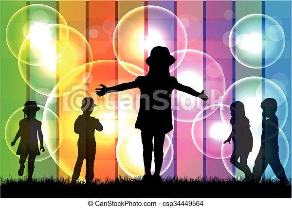 bambini, silhouette. - csp34449564