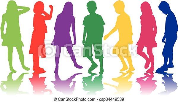 bambini, silhouette. - csp34449539