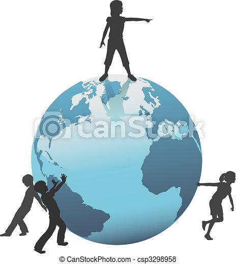 bambini, spostare, futuro, terra, mondo, risparmiare - csp3298958