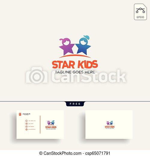 bambini, stella, idea affari, illustrazione, creativo, vettore, sagoma, logotipo, scheda - csp65071791