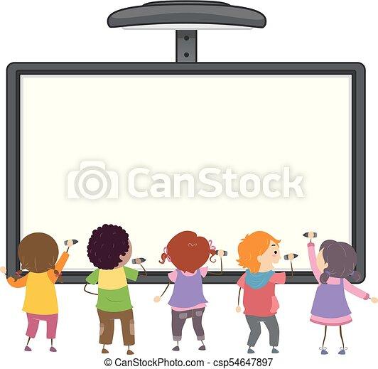 bambini, stickman, illustrazione, scrivere, asse, interattivo - csp54647897