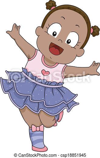 bambino, ballerina, ragazza, costume - csp18851945