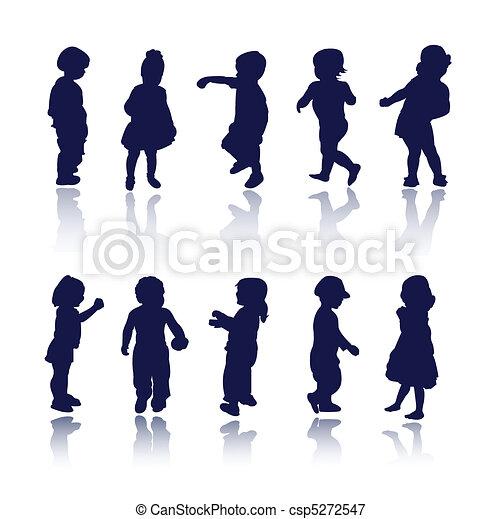 bambino, bambini, bambini, silhouette - csp5272547