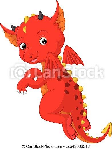 bambino, carino, cartone animato, drago - csp43003518