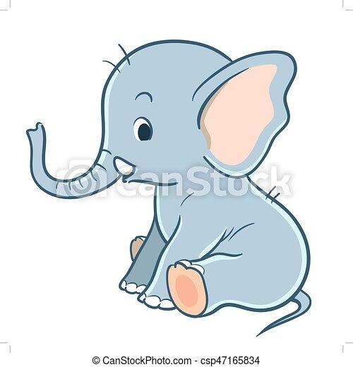 Bambino Carino Cartone Animato Elefante Carino Seduta