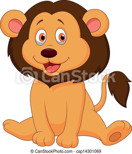 bambino, carino, leone, cartone animato - csp14301069
