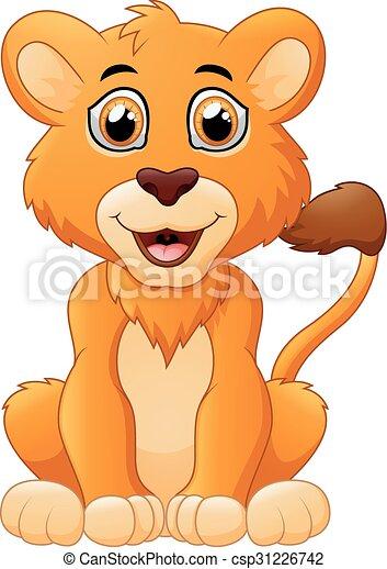 bambino, carino, leone, cartone animato - csp31226742