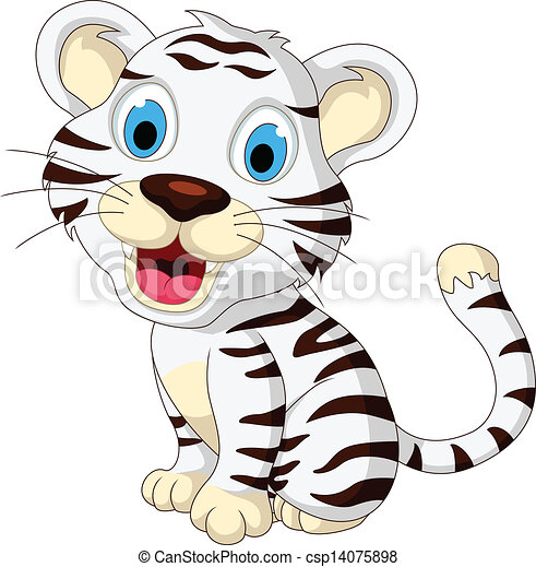 Bambino Carino Tigre Bianca Proposta Carino Illustrazione