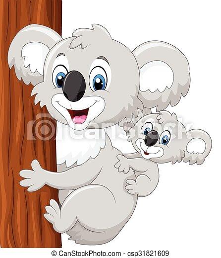 Bambino cartone animato koala indietro madre koala madre