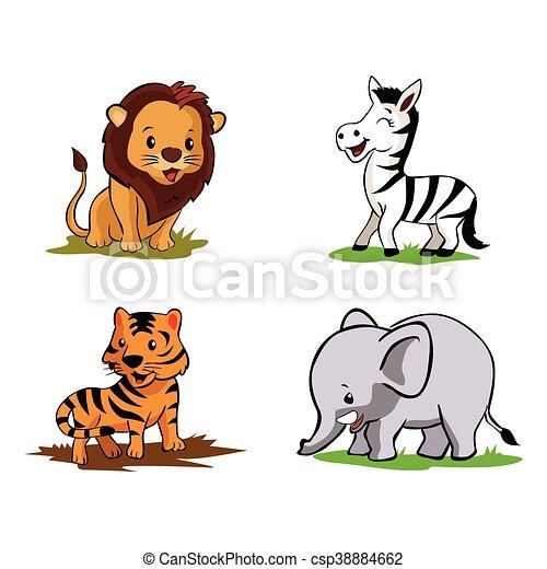 Bambino Disegno Animale Illustrazione Collezione