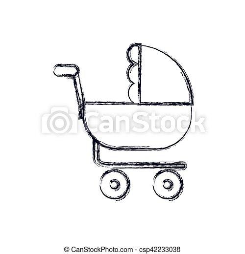 Bambino Disegno Isolato Passeggino Infante Infanzia Oggetto