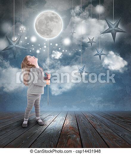 bambino, luna, gioco, stelle, notte - csp14431948