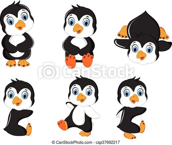 bambino, set, proposta, cartone animato, pinguino - csp37692217