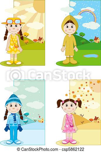 bambino, stagione, ragazza, differnet - csp5862122