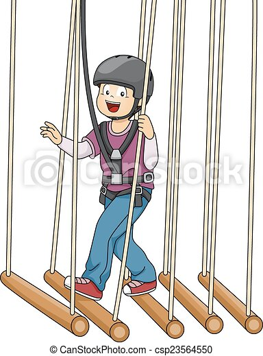 illustration featuring a boy crossing a bamboo bridge suspended on rh canstockphoto com bamboo clip art images bamboo clipart png