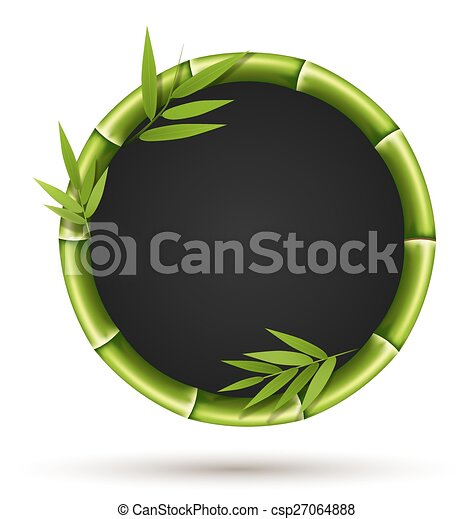 Bamboo circle frame with leafs isolated on white - csp27064888