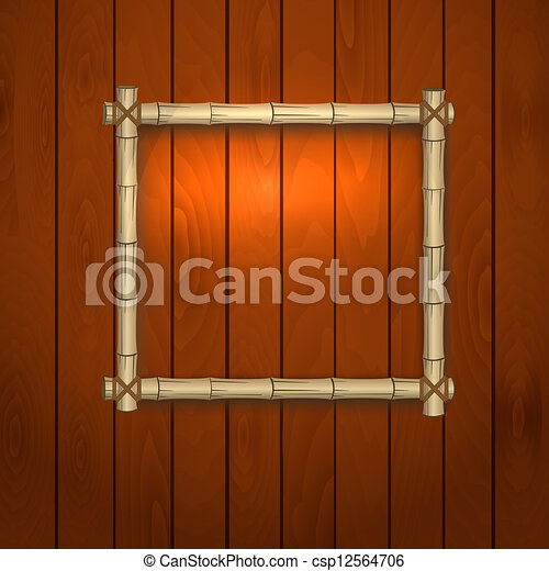 bamboo frame on a wooden wall - csp12564706