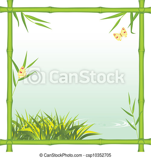Bamboo frame with kind of the river - csp10352705