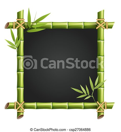 Bamboo frame with leafs isolated on white - csp27064886