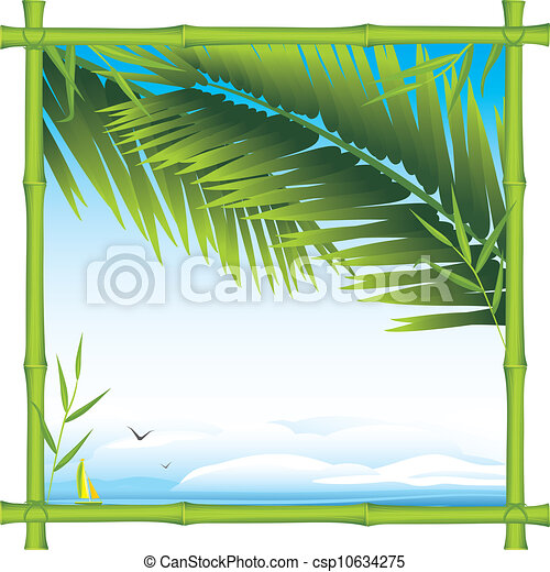 Bamboo frame with palm branches - csp10634275