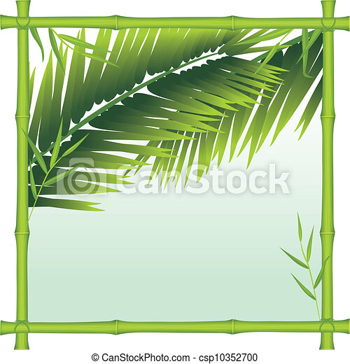 Bamboo frame with palm branches - csp10352700