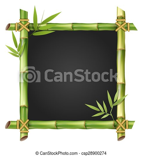 Bamboo grass frame with leafs isolated on white - csp28900274