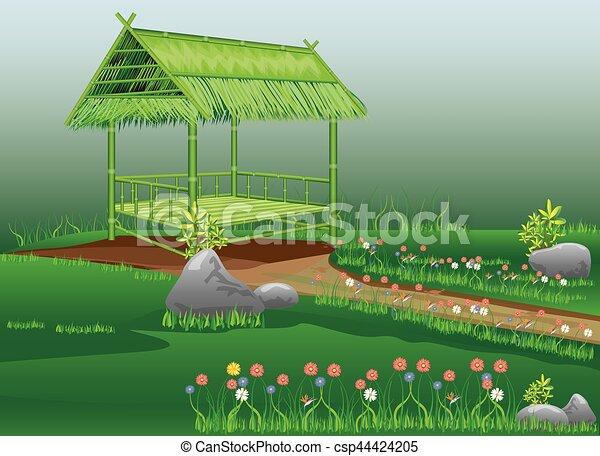Bamboo Hut In Flower Garden Vector Design