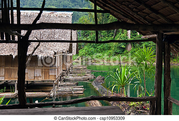 Bamboo huts floating in a Thai village - csp10953309