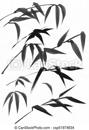 Bamboo leaves ink study - csp51974634