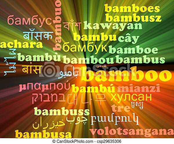 Bamboo multilanguage wordcloud background concept glowing - csp29635306